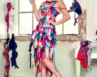 Recycled Bra dress for Cancer research