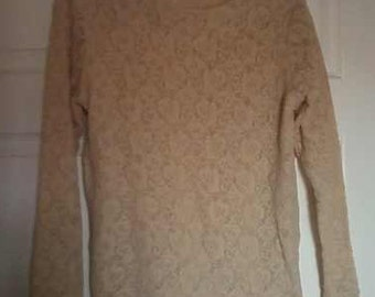 Beige Lace Stretchy top from Shoulders to Go