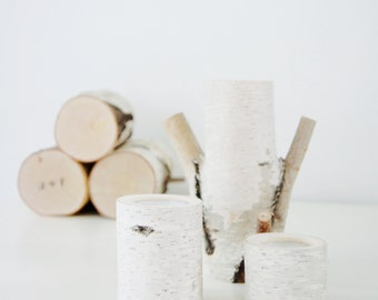 wooden candle holders set of 3 - birch candle holders,  log candle holders, tree candle holders, romantic gift