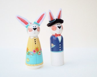 """Easter Decoration Peg People Peg Rabbits """"Meet the Snickers"""""""