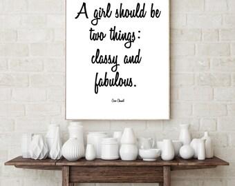 Fashion Digital Print. Coco Chanel Quote. 8 x 10. Black and White. 11 x 14. Fashion. Designer. 4 x 6. Printable Art. Fabulous. Classy.