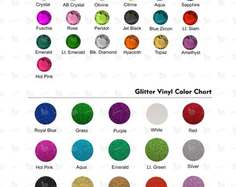BWF 12-facets Machine Cut Rhinestones and Siser Glitter Color Options