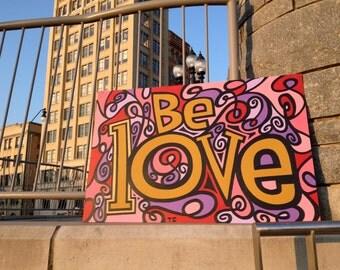 Original Love Painting, Asheville North Carolina, Street Art Acrylic, Colorful Lettering Art, Inspiring Bold Message, Travis Clement 24x36