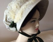 Regency Bonnet. Jane Austen. White Wine SILK, Moss Green Trim.