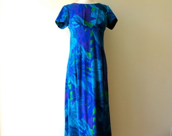 Vintage Hawaiian Dress Medium/Hawaiian Print Dress with Train/Blue Hawaiian Print Dress/Sun Fashions of Hawaii/Retro Hawaiian/Medium