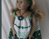 "Irish Snoopy American Girl Doll Dress, Necklace & Headband Set Woodstock Shamrocks ""Bless Your Irish Heart"" Hand Made"
