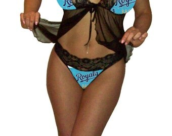 Kansas City Royals Lace Babydoll Negligee Lingerie Teddy Set - XL Extra Large to 2X Plus Size - Please READ SIZING Info - Also in White