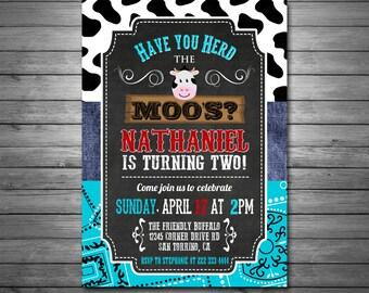 Cow Birthday Invitation, Printable File, Moo Invitation, Teal Bandana, Denim, Cow Print, Little Cow, Chalkboard