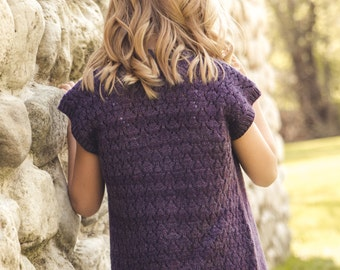 PDF file for Girls' Lace Back Cardigan KNITTING PATTERN-Sanctuary