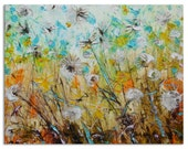 Dandelions on the wind - Original Large Floral Oil Painting on Canvas Palette Knife - by SOLOMOON - gallery fine art ready to hang impasto