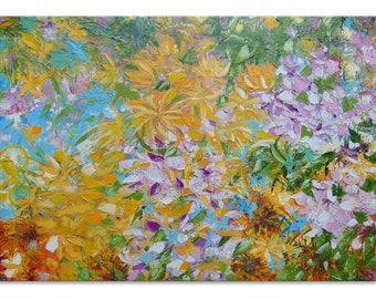 Summer bloom floral ol painting  impasto large artwork intuitive artwork nature inspired art horizontal canvas painting Ethnic painting oil