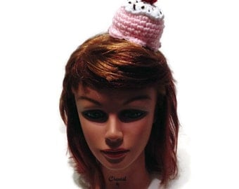Ice Cream Headband, Pink Ice Cream, Food Headband, Amigurumi Ice Cream, Ice Cream Costume, Kawaii Cosplay, Fairy Kei, Hair Accessories