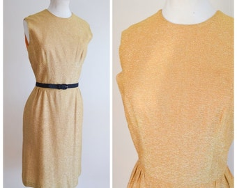 1950s 60s Gold lurex cocktail dress / 50s metallic wiggle dress - S