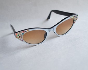 1950s Silver rhinestone cat eye sunglasses / 50s diamanté cateye frame eyeglasses