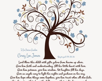 Baptism Gift for Him-Boy Christening Gift-Dedication Print-Godson-Grandson-Son-Nephew-Personalized Prayer-Lord Bless This Child Poetry Print