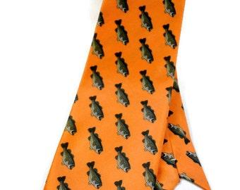 Men's Necktie, Bass Fish Tie, Orange Tie, Southern Tie, Necktie, Groomsmen Gifts, Fathers Day Gift, Unique Tie, Silk Tie, Fish Tie