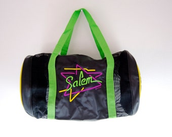 Retro Salem Witch Gym Bag / Black and Green / Mesh / Zip Up