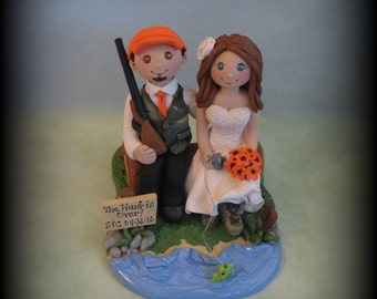Wedding Cake Topper, Hunting, Fishing, Bride and Groom, Sitting on Log, Rustic Wedding, Outdoors, Personalized, Polymer Clay, Grooms Cake
