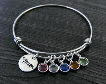 Charm Bracelet / Mom Bracelet / Wire Bangle / Mother Gift / Personalized / Hand Stamped / Mother Bracelet
