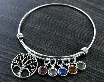 Charm Bracelet / Tree of Life / Wire Bangle / Birthstone Bangle / Mom Bracelet / Mother Gift / Personalized / Hand Stamped / Mother Bracelet