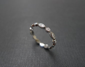 Bezel Setting Marquise Diamond Wedding Band