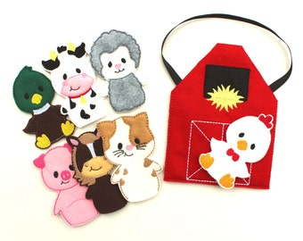 Farm Animal Finger Puppets, Busy Bag, Travel Game, Animal Puppet, Pretend Play, Birthday Gift, Party Favor, Busy Board, Barnyard, Quite Play