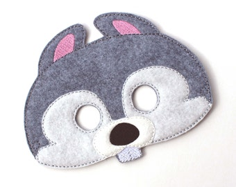 Kids Squirrel Mask, Grey Squirrel, Costume, Felt Mask, Kids Face Mask, Animal Mask, Halloween Costume, Pretend Play, Dress Up, Party Favors