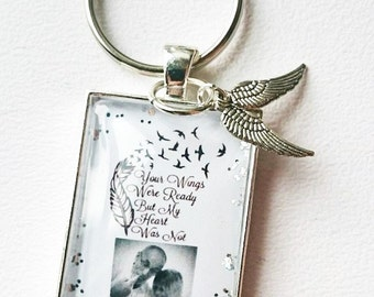 Remembrance Key Ring Your Wings Were Ready But My Heart Was Not Personalised Remembrance Glass Tile Key Ring - Gorgeous Keepsake