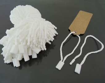 Hang Tag String - 100pcs White Hang Tags Clothing Tags Cotton String with Plastic Fastener