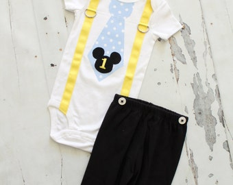 Personalized BABY Mickey Mouse Birthday Tie and Suspender One Piece Bodysuit. Baby Boy First 1st Birthday Party Outfit Disney Style Clothing