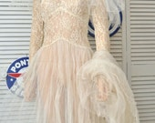 Vintage-Antique Sheer Lace Wedding Dress/Distressed-As Is for Costume Theater Pattern Display/Tiara Veil/Size Small Teens Womens
