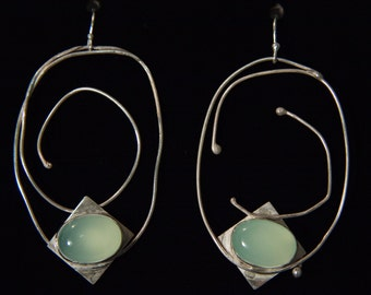 Sterling silver hand-crafted free-form earrings with aqua Chalcedony stone