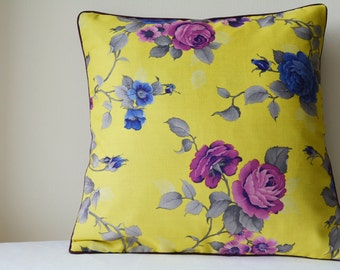 Beautiful Yellow & Purple Rose Print Pillow Cover , Rose Print Floral Cushion Cover , Yellow Rose Decorative Pillow ,  Spring Floral Cushion