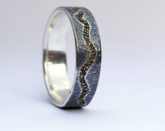 River Ring - Rustic Nature Inspired Wedding Band for Men, Gold and Silver, Size 10.5