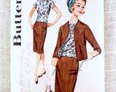 Vintage Pattern Butterick 2353 1960s First Lady Pillbox cropped bolero jacket Suit pencil skirt Bust 34 stewardess