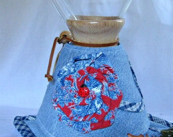 Chemex  Cozy and Warming Pad Set--Repurposed denim jeans-Fits 8 cup wooden collar-OOAK