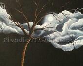 "Nightcrawler 8"" x 10"" print of an original acrylic painting by Owen Klaas black white tree moon"