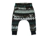 Baby harem leggings, distressed print gender neutral baby leggings, unisex kids harems, ready to ship