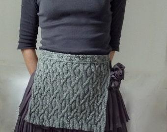 Ancestors Apron, hand-knitted, lagen look, gray, Scottish, tabard / half kilt in wool-mix yarn