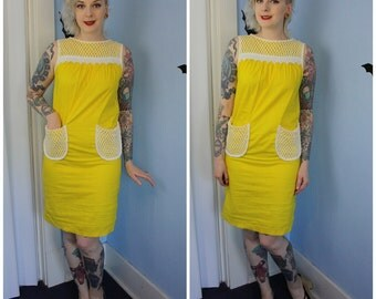 Vintage 1960s Womens Yellow Summer A-line Dress with White Cotton Lace Details Handmade Modern Size Medium
