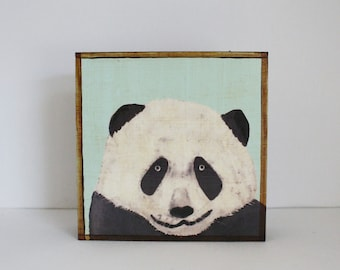 panda nursery art, panda nursery decor, mint nursery decor, animal print, art block, redtilestudio, kids room decor, wall art nursery