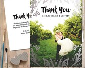 Wedding Thank You Cards or Magnets - Gold Thank You, Silver Thank You Card - Leaf