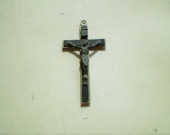 Vintage Crucifix - Cross Pendant - Silver Metal - I Am A Catholic - Holy Christian Religious Charm