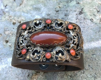 Brown Leather Cuff with Vintage Victorian Brass Brooch