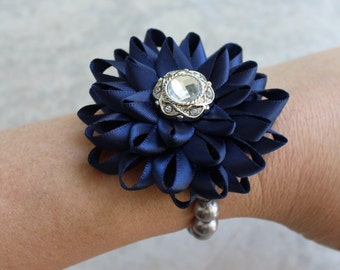 Wedding Wrist Corsage, Custom Colors, Navy Blue Corsage, Navy Blue Bracelet Flower, Bridesmaid Wrist Corsages, Silver, Dark Blue