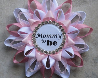 Baby Shower Corsages, Mommy to Be Pin, Grandma to Be Ribbon, Pink, White, Silver, Pink Baby Shower Decorations, Baby Girl, New Mom Gift