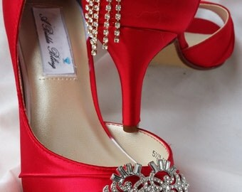 Wedding Shoes Red Bridal Shoes Vintage Style Brooch and Cascading Crystal Design Over 100 Custom Color Choices