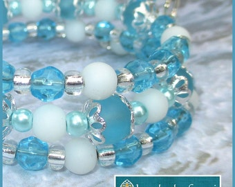 Multistrand Coil Bracelet Faux Sea Glass Pearls Metal Memory Wire Turquoise Blue Aqua White Ocean Colors Jewelry / One Size Fits Most