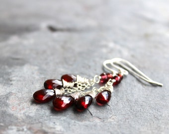 Garnet Earrings Red Gemstone Earrings Delicate Cascade Sterling Silver January Birthstone Earrings