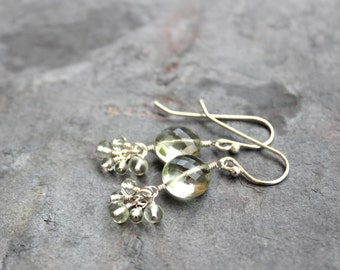 Green Amethyst Earrings Prasiolite, Sterling Silver Gemstone Coin Clusters